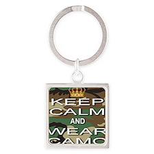 Keep Calm and Wear Camo Square Keychain