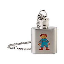 vintage cartoon boy Flask Necklace