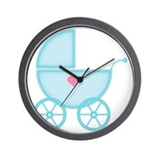 Blue Baby Carriage Wall Clock