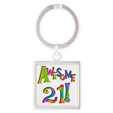 Awesome 21 Birthday Square Keychain
