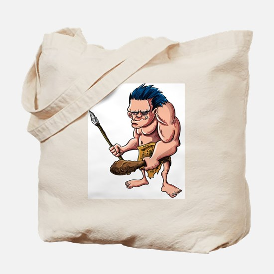 Cartoon caveman with a club Tote Bag