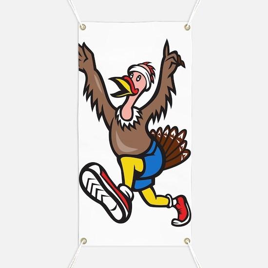 Turkey Run Runner Cartoon Isolated Banner