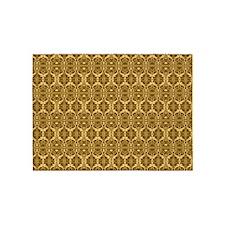 Elegant Vintage Gold and Brown 5'x7'Area Rug