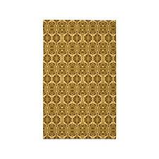 Elegant Vintage Brown and Gold 3'x5' Area Rug