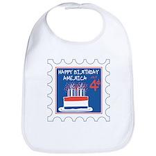Happy Birthday America Stamp Bib