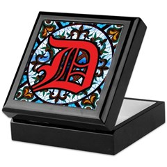 Stained Glass D Keepsake Box