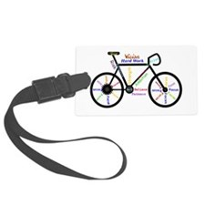 Bike made up of words to motivat Luggage Tag