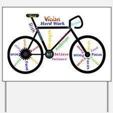 Bike made up of words to motivate Yard Sign