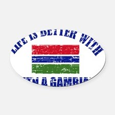 Gambia flag designs Oval Car Magnet