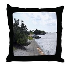 BEACH SIDE AND SEA SHELLS SHOWER CURT Throw Pillow