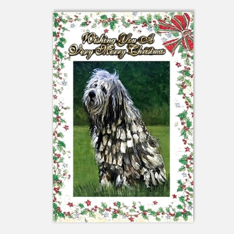 Bergamasco Dog Christmas Postcards (Package of 8)