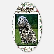 Bergamasco Dog Christmas Sticker (Oval)