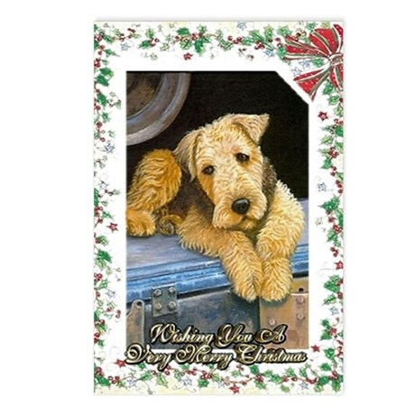 Airedale Terrier Dog Chri Postcards (Package of 8)