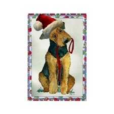 Airedale Terrier Dog Christmas Rectangle Magnet