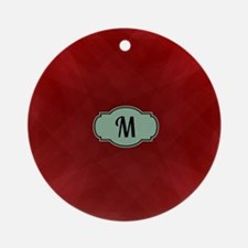 "Monogram ""M"" on red abstract design Round Ornament"