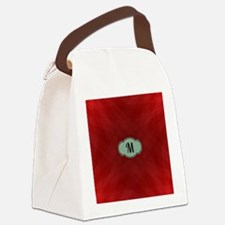 "Monogram ""M"" on red abstract desi Canvas Lunch Bag"