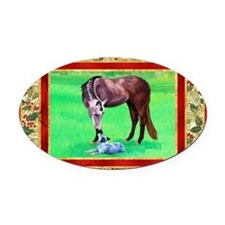 Australian Cattle Dog Christmas Oval Car Magnet