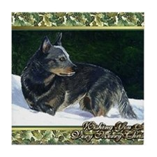 Australian Cattle Dog Christmas Tile Coaster