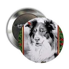 "Australian Shepherd Christmas 2.25"" Button"