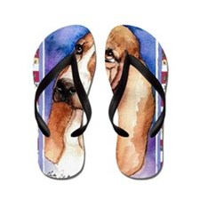 Basset Hound Dog Christmas Flip Flops