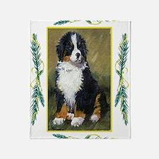 Bernese Mountain Dog Christmas Throw Blanket