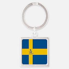 Team Biathlon Sweden Square Keychain