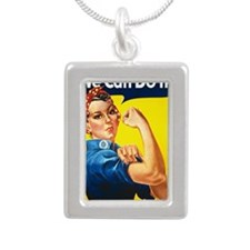 Rosie the Riviter We Can Silver Portrait Necklace