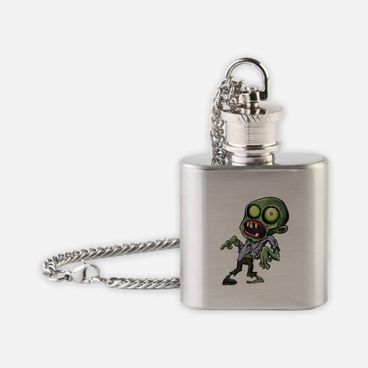 Scary cartoon zombie Flask Necklace