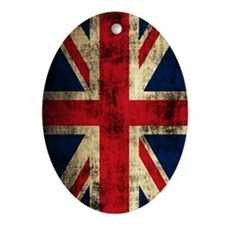 Union Jack Grunge Distressed Oval Ornament