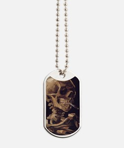 Van Gogh Skull with a burning cigarette Dog Tags