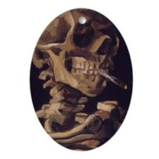 Van Gogh Skull with a burning cigare Oval Ornament