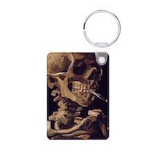 Van Gogh Skull with a burn Keychains