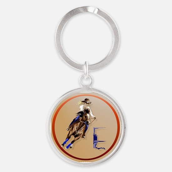 Circle Barrel Horses Keychains