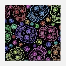 Day Of The Dead Pattern Tile Coaster
