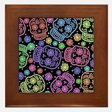 Day Of The Dead Pattern Framed Tile