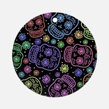 Day Of The Dead Pattern Round Ornament