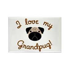 I love my Grandpug Rectangle Magnet