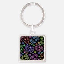 Day Of The Dead Pattern Square Keychain