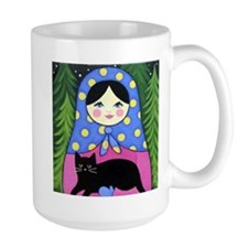 Matryoshka Babushka Girl Doll Cat Folk ART Mugs