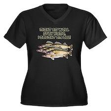 Walleye humo Women's Plus Size V-Neck Dark T-Shirt