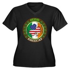 Irish American Women's Plus Size V-Neck Dark T-Shi