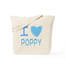 Blue I Heart (Love) Poppy Tote Bag