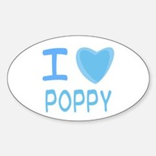 Blue I Heart (Love) Poppy Oval Decal