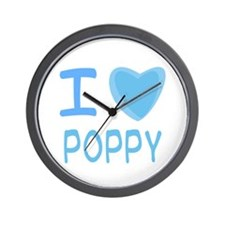 Blue I Heart (Love) Poppy Wall Clock