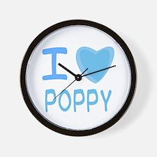 Blue I Heart (Love) Poppy Wall Clock