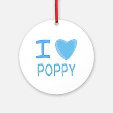 Blue I Heart (Love) Poppy Ornament (Round)
