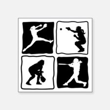 "bw 4X pitcher, catcher, bat Square Sticker 3"" x 3"""