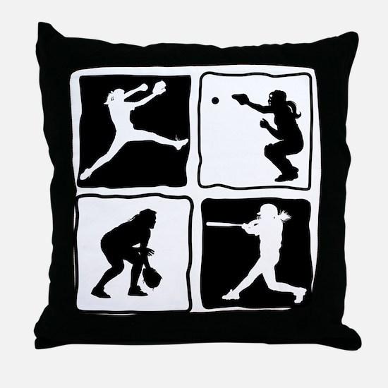bw 4X pitcher, catcher, batter, field Throw Pillow