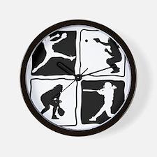 bw 4X pitcher, catcher, batter, fielder Wall Clock