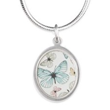 Beautiful Butterflies Silver Oval Necklace